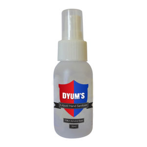 Certificated7: Dyums – 50ml LIQUID Hand Sanitiser- @least 15 per order