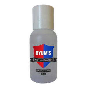 Certificated5: Dyums  – 50ml GEL Hand Sanitiser – @least 15 per order